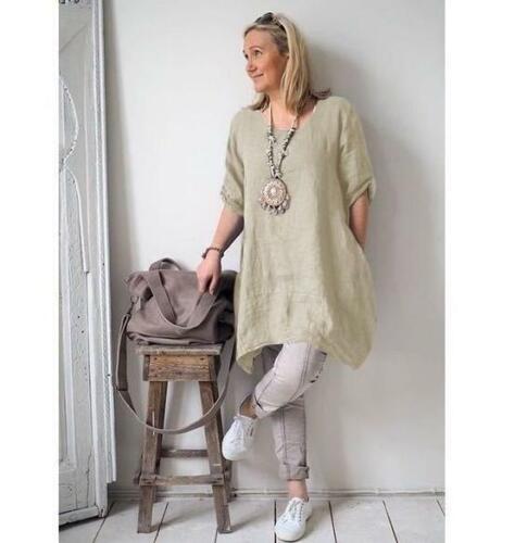 Women/'s Cotton Blouse Short Sleeve Boho Dress Loose Tunic Top Shirt  Plus Size