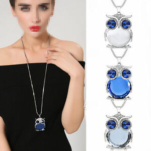 Women-Jewelry-Owl-Rhinestone-Crystal-Pendant-Necklace-Animal-Long-Sweater-Chain