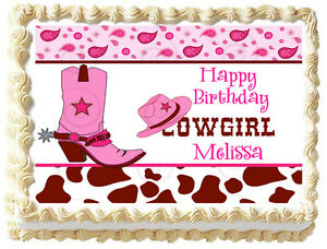 Tremendous Pink Cowgirl Boots Birthday Image Edible Cake Topper Ebay Personalised Birthday Cards Sponlily Jamesorg