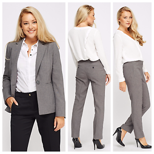 Women's Business Grey Tailored Single Breasted Lined Office Trousers Suit Blazer