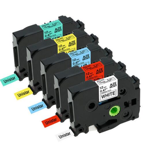 5X Label Tape TZe-231 tze-431 tze-531 tz-631 tz-731 12mm 8m für Brother P-Touch
