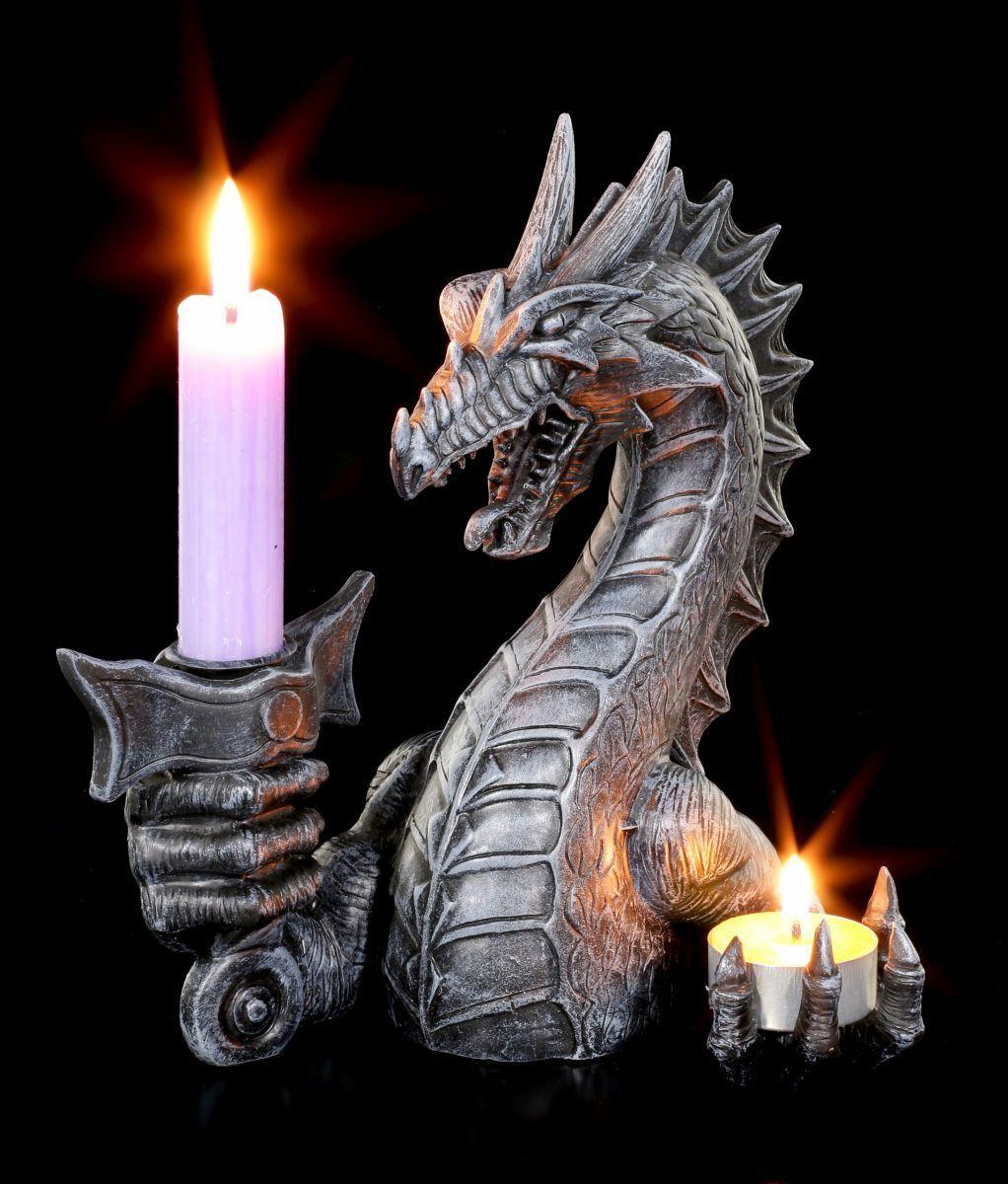 Kerzenständer Gothic Figur Fantasy Deko Drachen Teelichthalter rechts