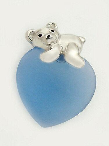 Cajita Teddy plata 925 en Hell corazón azul plata colgante osito silberbär