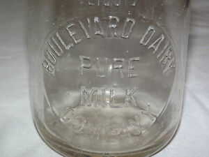 VINTAGE-1930-40S-BOULEVARD-DAIRY-1-QUART-MILK-BOTTLE