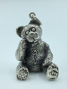 Large-TEDDY-BEAR-Sterling-Silver-CHARM-Necklace-Pendant-CUTE-Ornament-GIFT