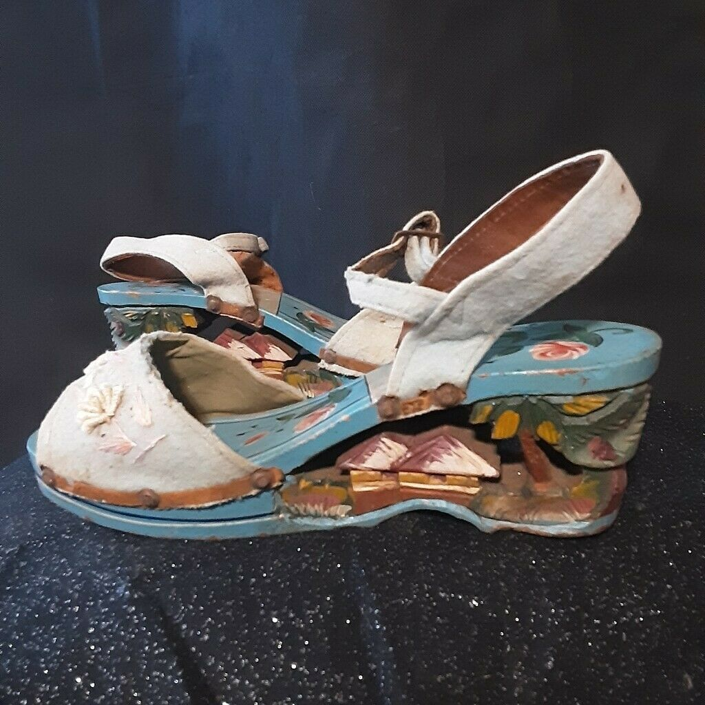 1940's Carved Wood Wedge Sandals from the Philipp… - image 1