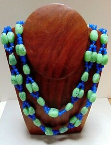 Rare Art Deco Czech 1920s Green Blue Speckled Glass Necklace Intricate Knotted