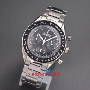 Chronograph-Watch-Luminous-Hand-40mm-Japanese-Quartz-CORGEUT-Black-Dial-men-039-s