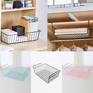 White-Under-Shelf-Table-Storage-Basket-Rack-Kitchen-Wire-Mesh-Cabinet-Organiser