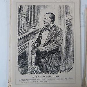 """Punch Cartoon 7x10"""" 1930 A New Year Resolution Baldwin Lloyd George Art"""