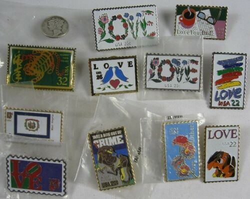 11 Vintage Postal Service Stamp Pin Collection Love