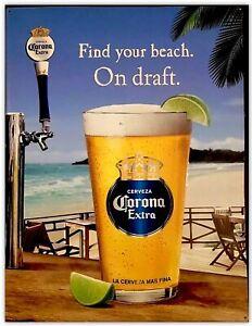 Corona Beer On Draft FIND YOUR BEACH Metal Sign Bar Pub ...