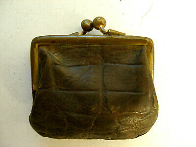 QB037 1pcs Handmade Tiny Antique Bronze Photo Leather Purse Pendant  Charm