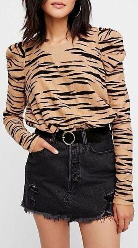 Free People Zaza Zebra Pullover Sweatshirt Cropped Puff Sleeve Animal OB655063