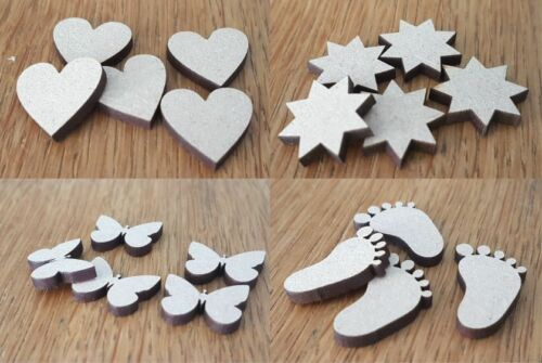 Wooden MDF Shapes Hearts Stars Butterfly Baby Feet Bunting Craft Decoration