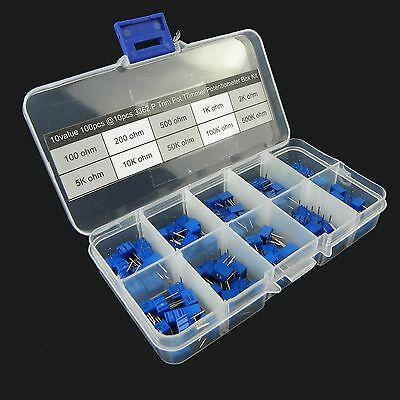10value 100pcs 3362 Trim Pot Trimmer Potentiometer Assortment Box Kit (#134)