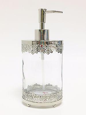 NEW BELLA LUX GLASS+SILVER DIAMOND CUT OUT METAL FRAME EXTERIOR SOAP DISPENSER