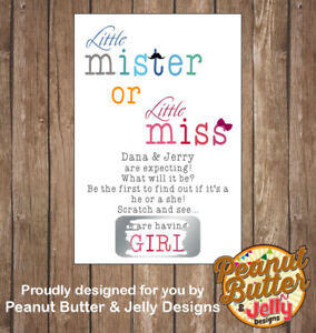 Baby gender reveal scratch card x6 reveal to friends family a special way..
