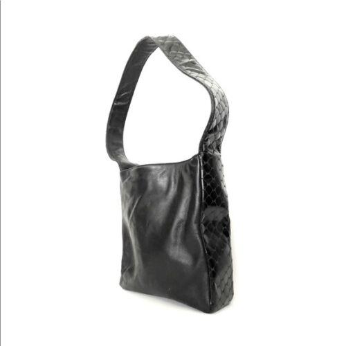 Vintage black leather boxy handbag purse reptile h