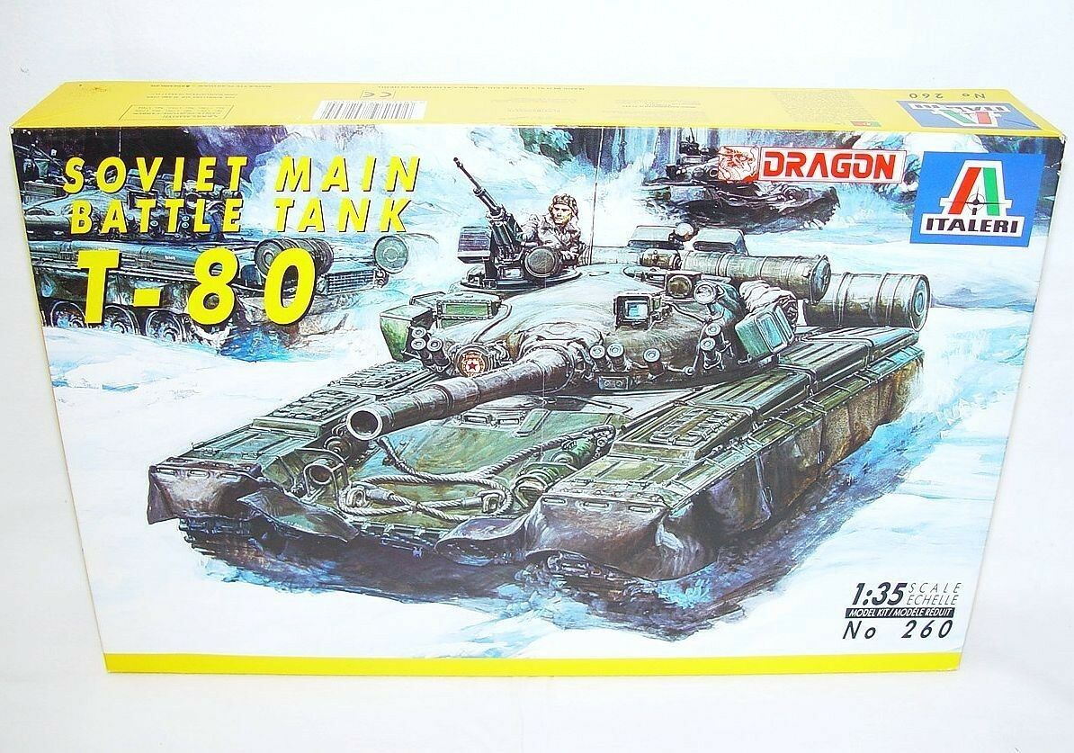 Dragon Italeri 1 35 Modern RUSSIAN T-80 SOVIET MAIN BATTLE TANK Model Kit MIB`90