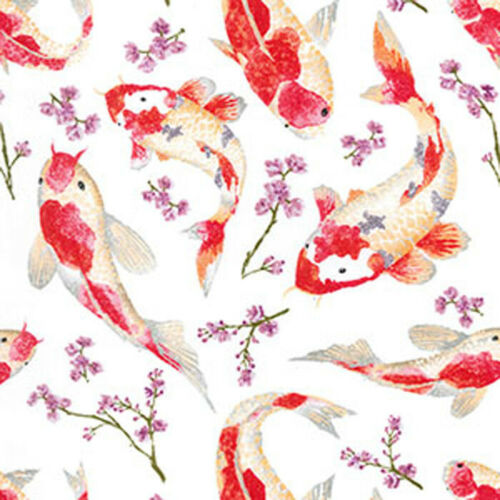 Oriental Koi Fish Fabric Dressmaking Fabric Craft Upholstery Shabby Chic Animal