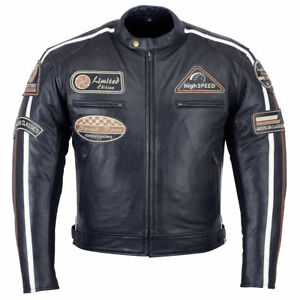 Zu Retro Herren Echtleder Vintage Bis Jacke Details StilS 5xl Motorradjacke Schwarz biker CdeWBrxo