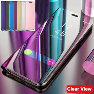 Flip-Wallet-Case-for-Samsung-Galaxy-A7-2018-J4-J6-Plus-Clear-View-Mirror-Cover