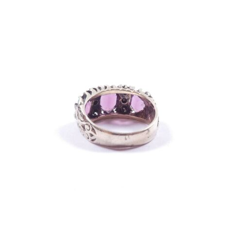 Details about  /Vintage Gypsy Ring Sterling Silver Amethyst /& Clear CZ Three Stone 4.6g