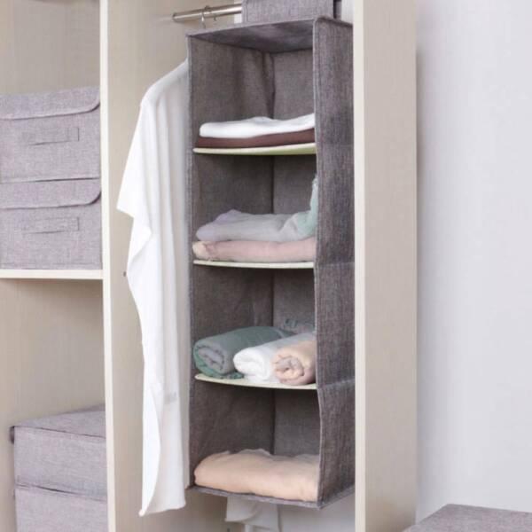 100% Verdadero Cotton Closet Wardrobe Cabinet Organizer Hanging Pocket Drawer Clothes Uk-ver