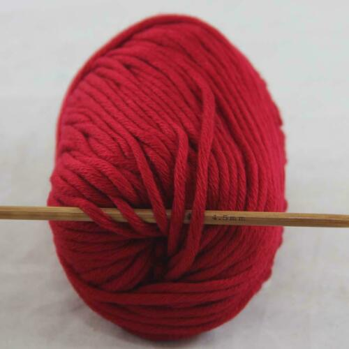 1Ball  50g Special Thick Worsted 100/% Cotton Hand Knitting Yarn Ruby Red 422/_23