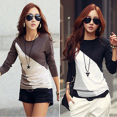 Casual T Shirts Women Crew Neck Blouse Long sleeve Cotton Basic Tops tees Blusas