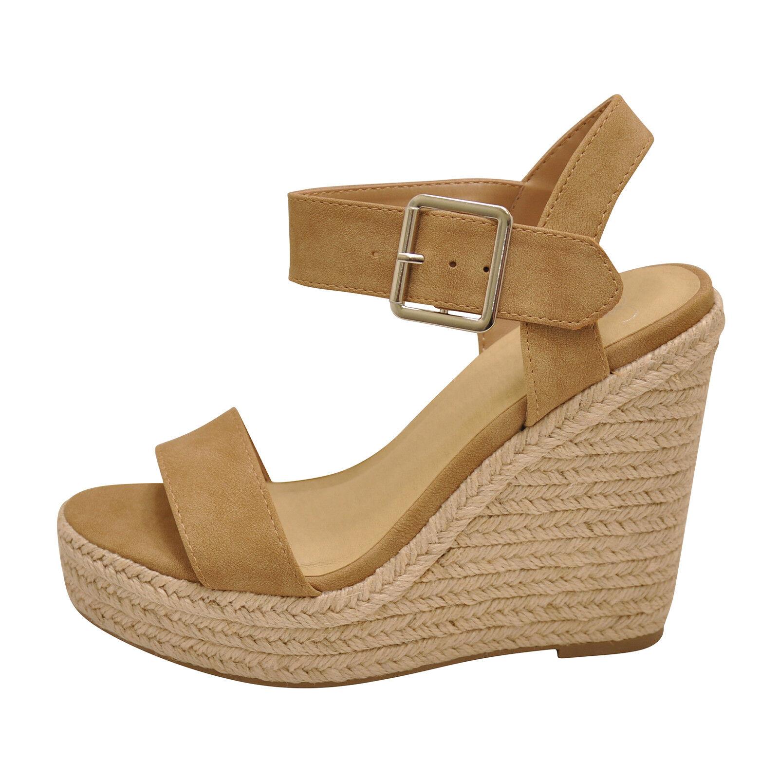 Delicious BURST Camel Women's Platform Wedge Espadrille Sandals