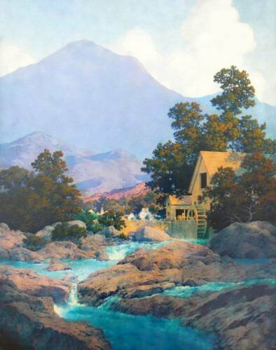 Old Mill Blue Stream by Maxfield Parrish