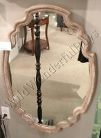 Oval Wall Mirror Aged Wood 35 Beveled Curved Shaped Large Neiman Marcus