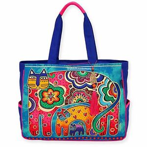 dacf28b3d1 Laurel Burch Bohemian Whiskers Cat OVERSIZED Tote Bag Multi on Blues ...