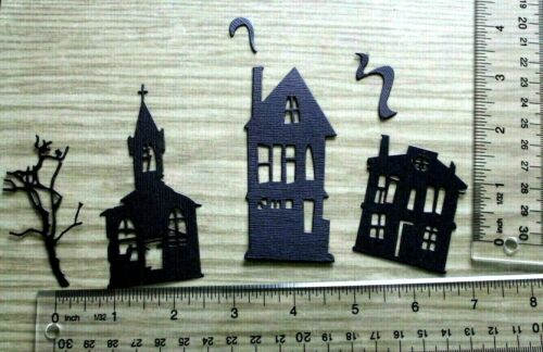 6 GHOST TOWN HOUSE paper die cut embellishment *FreeShipPromo* card making scrap