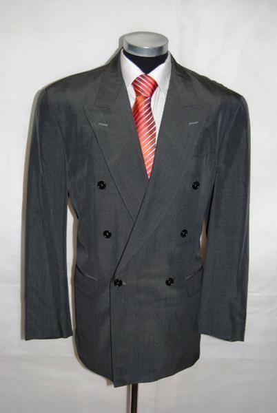 Ben Barton Sakko Trademark Zweireiher Grau Unifarben Schurwolle Gr. 52