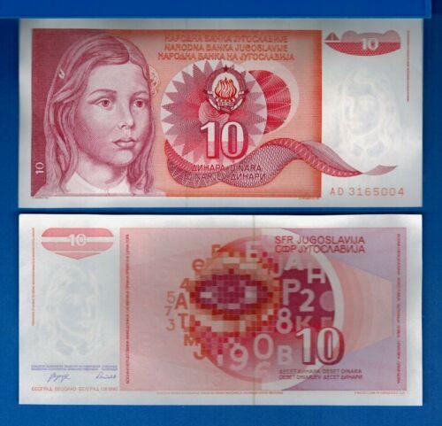 Yugoslavia P-103 10 Dinara Year 1.9.1990 Young Girl Uncirculated Banknote