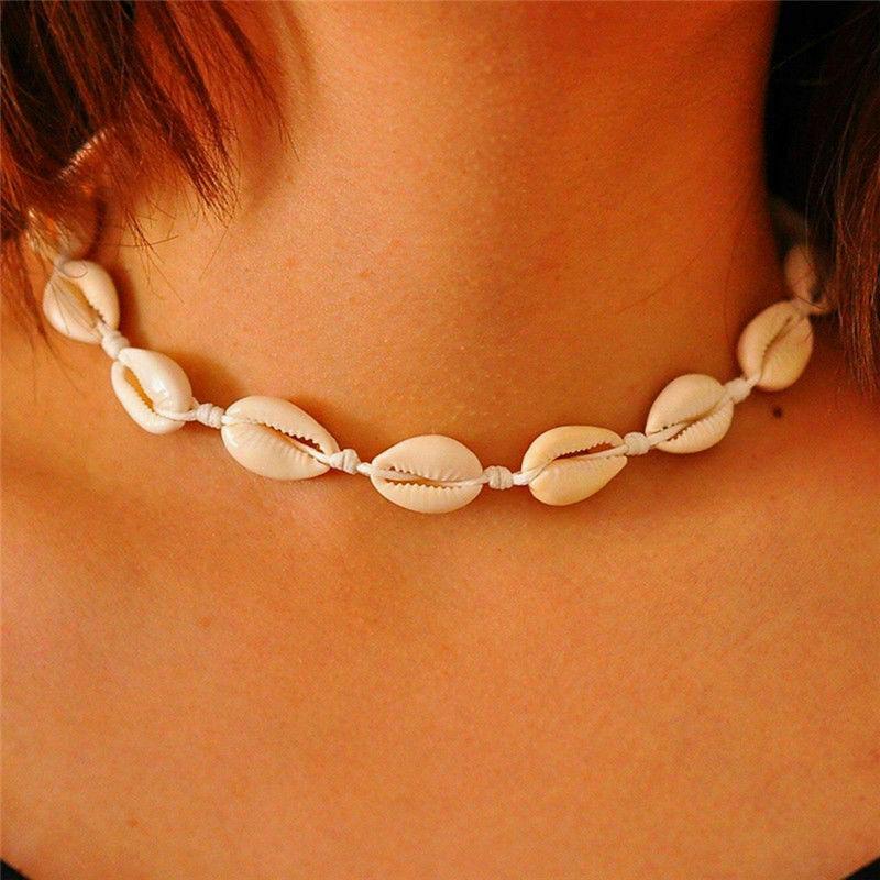 Natural Sea Shell Choker Necklace Boho Beach Rope Adjustable Jewelry Handmade