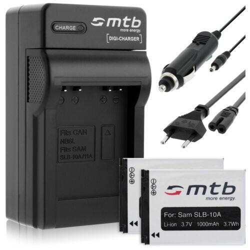 WB500 WB350F Caricatore per Samsung WB251F WB280F 2x Batterie SLB-10A