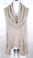 Alembika Tunic Top Sz L Beige Crochet Knit Sweater Cowl Vest Lagenlook Hi-Low