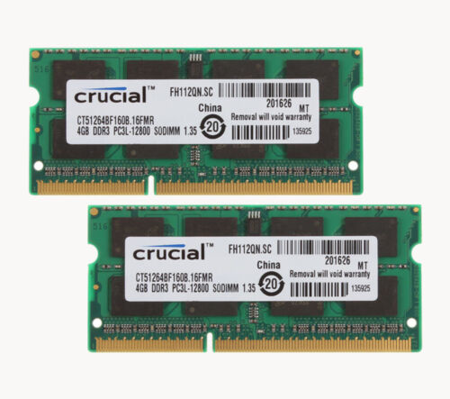 8GB Crucial 2X 4GB PC3L-12800S Laptop Memory DDR3 1600Mhz RAM SODIMM Kits 1.35V