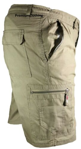 Mens Plain Elasticated Lightweight Shorts Camo Cargo Combat Multi Pocket Cotton
