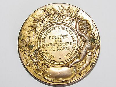 Bonito 03d40 Antigua Medalla Bronce Dorado Mesa Agricultores Norte Señal Rives Suplemento La EnergíA Vital Y Nutrir El Yin.