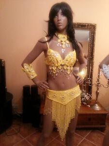 5 piece SET Brazilian SAMBA Bikini Carnival Full Costume Size 8-10 Drag Queen