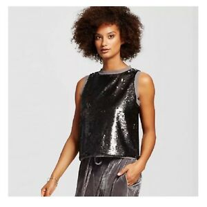 779685b88add68 NWOT WHO WHAT WEAR for TARGET GRAY SEQUIN SLEEVELESS TOP | eBay