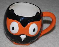 Halloween Owl Coffee Mug Cup Ceramic Hallmark Retired Black Orange White