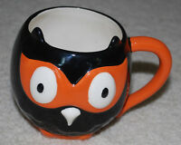 Halloween Owl Coffee Mug Cup Ceramic Hallmark Retired Black Orange White