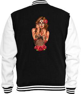 Skull Rockabilly Sugar Sweat Jacke Mexican College Tattoo Pinup RwxYfw7qP