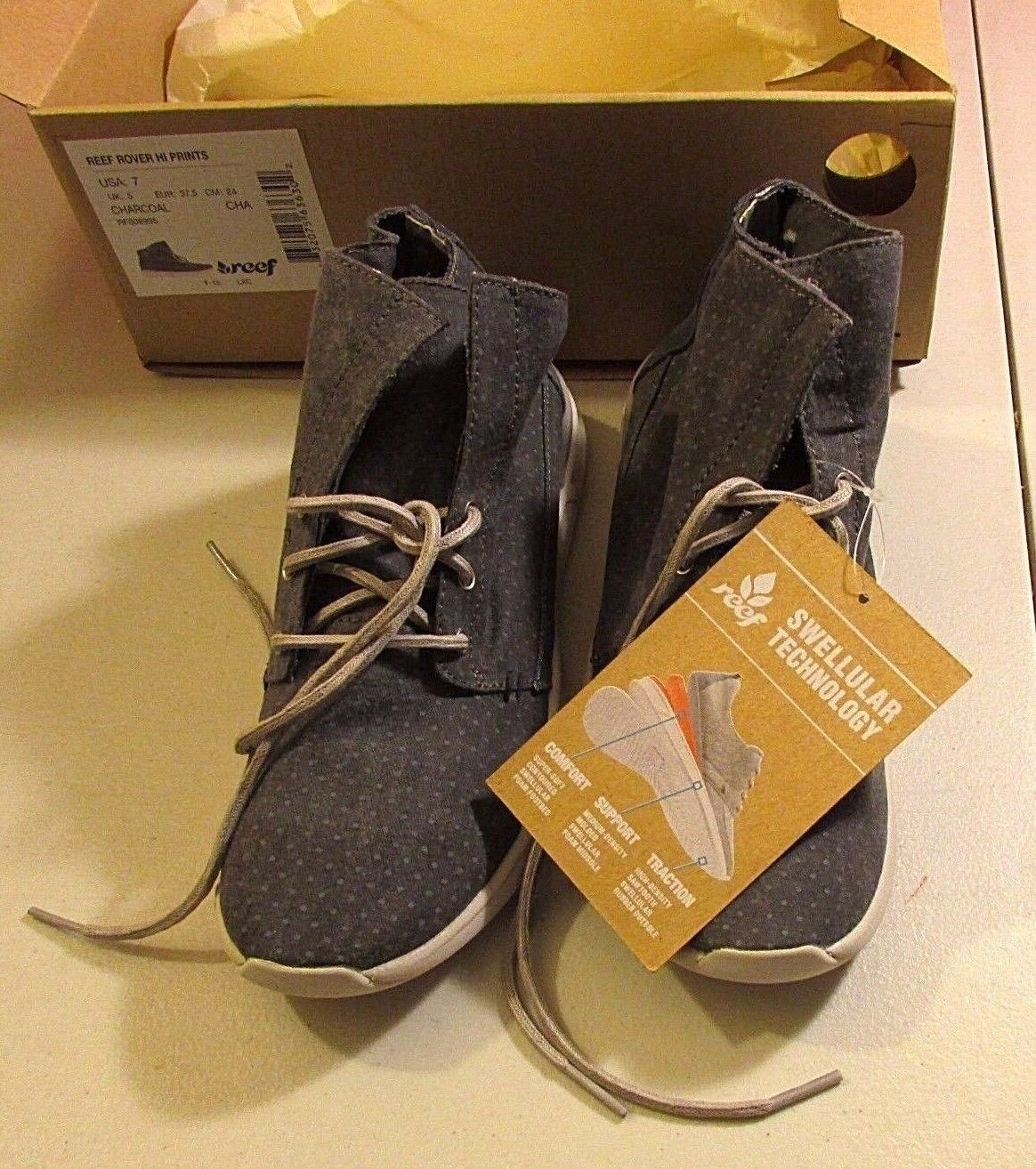 REEF ROVER CHARCOAL HI PRINTS WOMENS WOMENS WOMENS SIZE 7 BRAND NEW IN BOX- HARD TO FIND e9af23